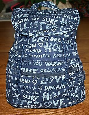 NWT Hollister by Abercrombie Logo Backpack book bag school tote Navy Blue