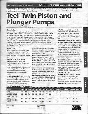 1998 Teel Twin Piston Plunger Pumps Operations Parts Manual 4un51 1p987c