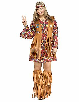 Peace and Love Hippie Groovy 60's 60s Adult Costume, Plus Size (Plus Size 60's Halloween Costumes)