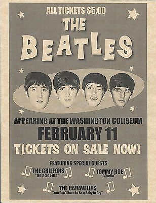 The Beatles Appearing At The Washington Coliseum > Concert Poster > Reprint