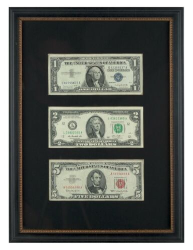 U.S. Currency Collection - Paper Money is Museum Framed, can even see the backs!