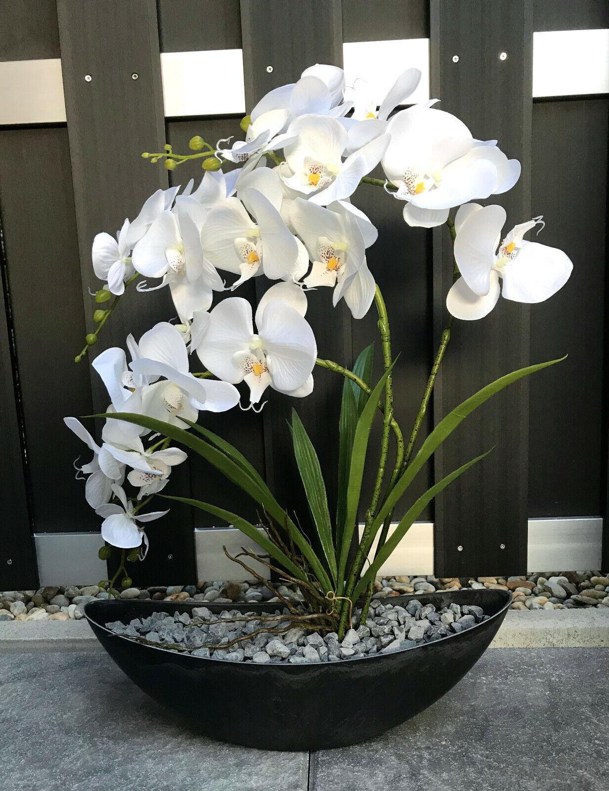 Neu edle Orchidee Weiß/Anthrazit künstlich Kunstblumen Gesamthöhe 58 cm