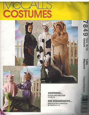 Pig Costume Pattern (7849 UNCUT Vintage McCalls SEWING Pattern Halloween Costumes Cow Lion Pig)