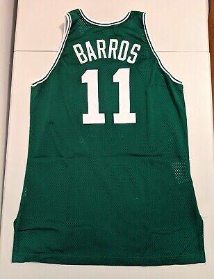 4255dd88c GAME USED WORN Champion DANA BARROS Boston Celtics Jersey 46 COA 76ers  PARISH 96
