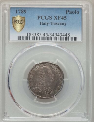 ITALY/ITALIAN STATES TUSCANY 1789 1 PAOLO SILVER COIN, PCGS CERTIFIED XF45