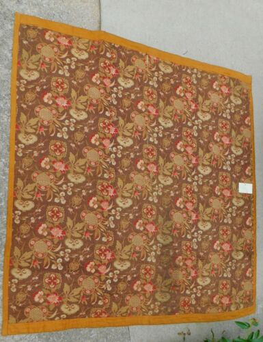 Early Printed Cotton Coverlet Comforter Quilt Brown Gold Antique Japanese Fans