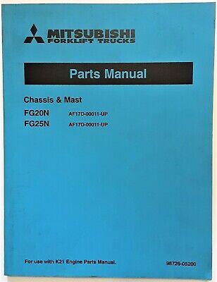 Mitsubishi Forklift Trucks Fg20n Fg25n Chassis Mast Parts Manual K21 Engine