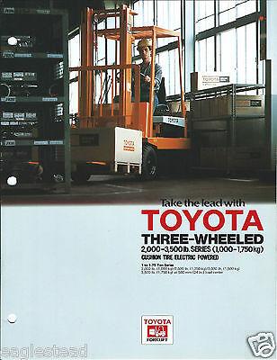 Fork Lift Truck Brochure - Toyota - Three-wheeled 2000-3500 Lb Electric Lt268