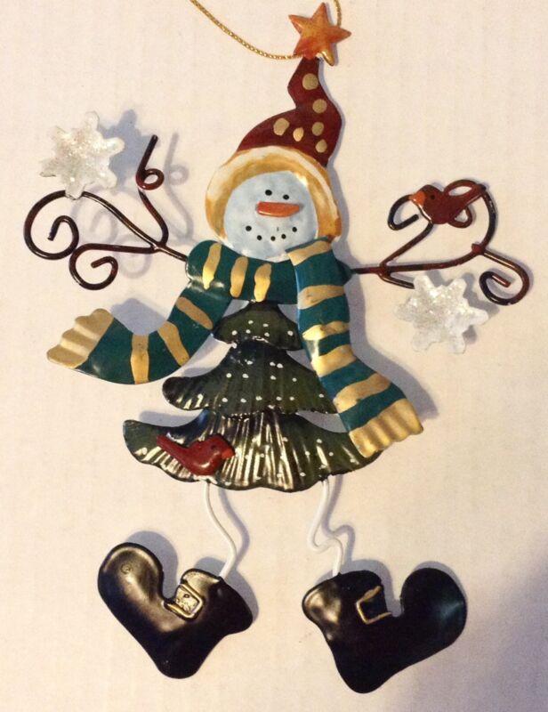 Whimsical Metal Snowman Christmas Ornament