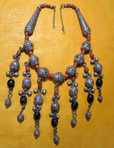 Antique Yemen Bedouin Ethnic Silver Filigree Wedding Necklace W/ Coral & Dangles