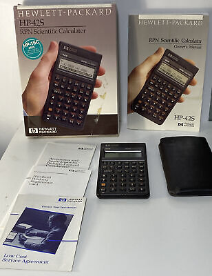 VTG HP 42S Hewlett Packard Calculator RPN Scientific Includes Manual Case Box