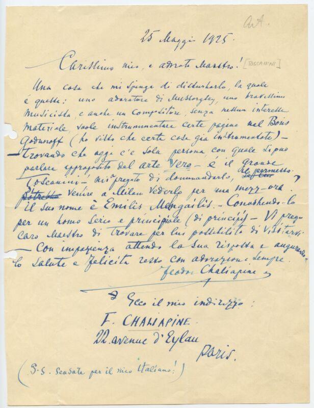 Feodor CHALIAPIN (1873–1938): Autograph Letter Signed to Arturo TOSCANINI