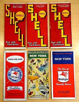 6 Gas Station Road Maps NEW YORK LONG ISLAND WORLD'S FAIR  Brooklyn 1930's-1940s
