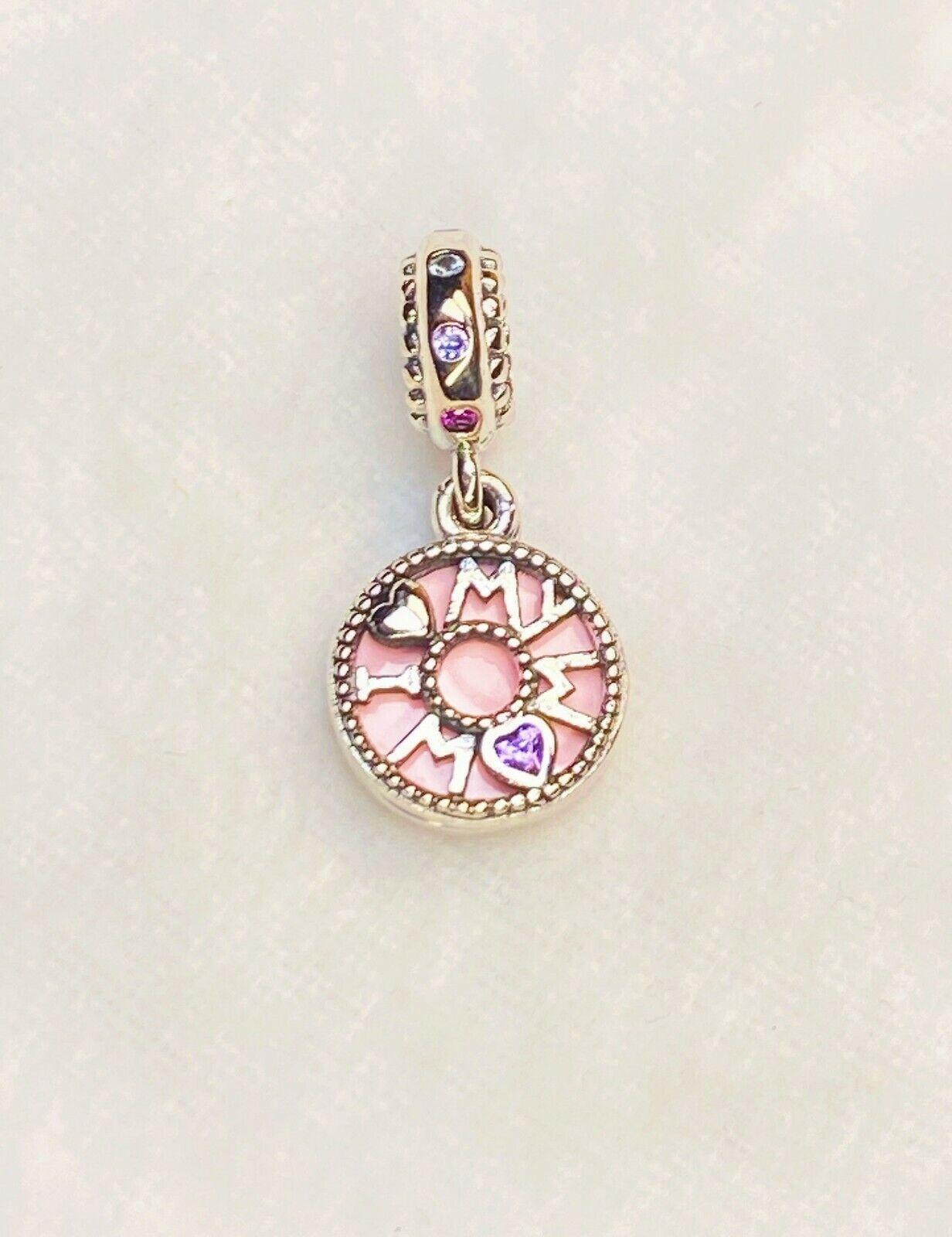 Authentic Pandora Silver 925 ALE Pink I Love My Mum Dangle Charm 797284NRPMX - $15.50