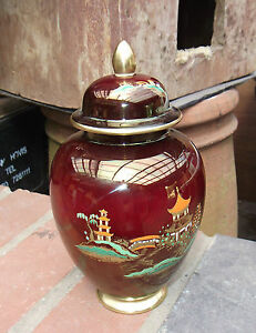 Art Deco Carlton Ware Rouge Royal Ginger Jar  Mikado Pattern