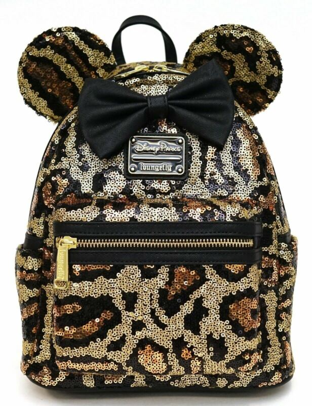 Disney Loungefly Minnie Mouse Sequined Animal Print Mini Backpack