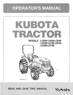 Kubota Tractor L3240 L3540 L3940 4240 L4240 Operators Maintenance Manual