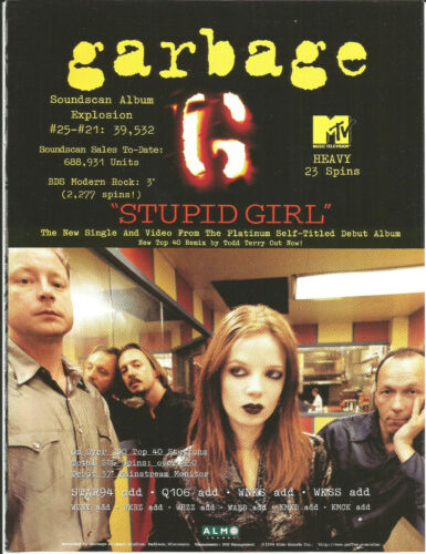 GARBAGE Ultra Rare 1996 Stupid Girl PROMO TRADE AD Poster for Self title CD MINT