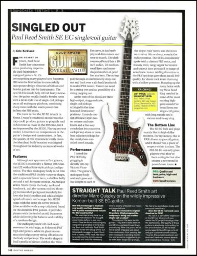 PRS SE EG single coil electric guitar review article print