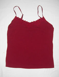 4efc326703 Old Navy Perfect Fit Stretch Red Adjustable Spagetti Straps Lace Trim Cami M
