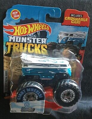 HOT WHEELS 2020 MONSTER TRUCK ~ VW DRAG BUS with CRUSHABLE CAR
