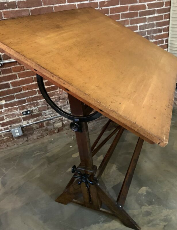 Antique Hamilton Cranking Drafting Table Industrial Desk - Wood And Cast Iron