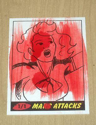 2012 Topps Heritage MARS ATTACKS sketch card 1/1 Jason Hughes
