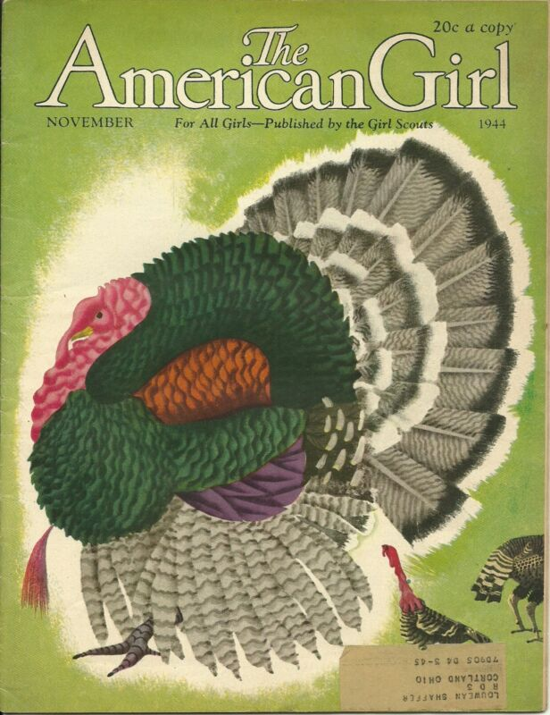 VINTAGE  GIRL SCOUT - 1944 AMERICAN GIRL - NOVEMBER - WORLD WAR II