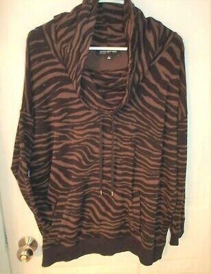 Jones New York Sz 1X Black/Brown Tiger Stripe Zebra Funnel Neck Cowl Neck Tunic New York Zebra