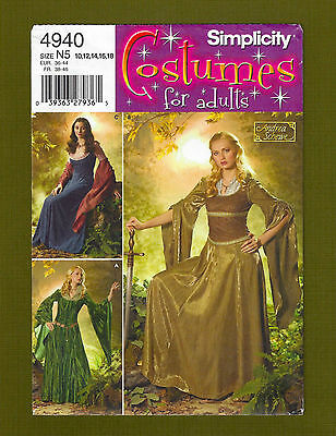 Warrior Maiden/Medieval Gown Costume Sewing Pattern (Size 10-18) Simplicity 4940 (Maiden Gown)