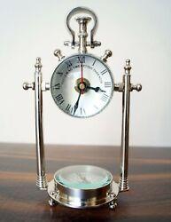 Nautical Chrome Finish Watch With Base Compass Marine Desk Clock Table Top Decor
