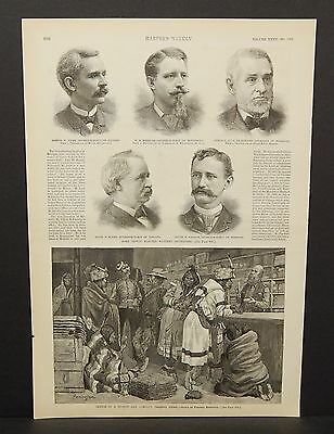 Harper's Weekly 1Pg Sketch in a Hudson Bay Company Trading Store c1890 B6#70 ()