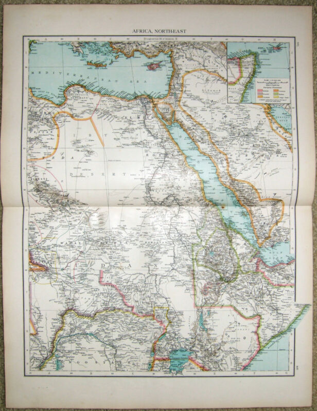 Large Original 1896 Map of Northeast Africa by Velhagen & Klasing. Egypt Antique