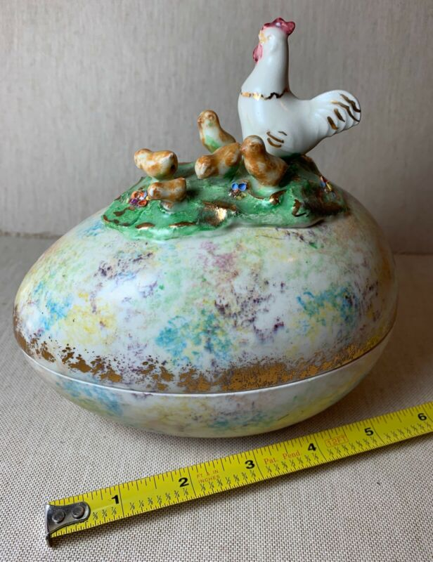 "Vintage 1940s Covered 6"" Easter Egg Candy Trinket Dish Chicken Chicks Pastel 40s"