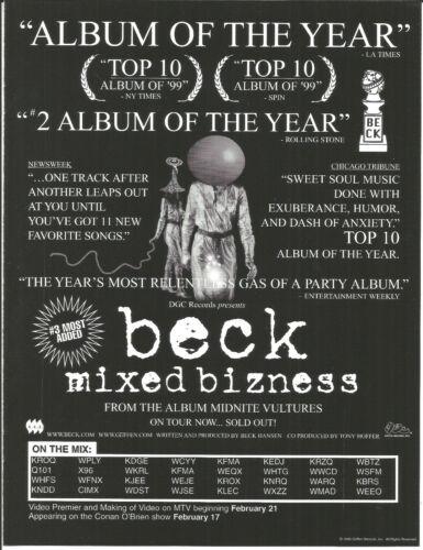 BECK Rare Bizness 2000 VINTAGE PROMO TRADE AD Poster for Midnite CD MINT USA