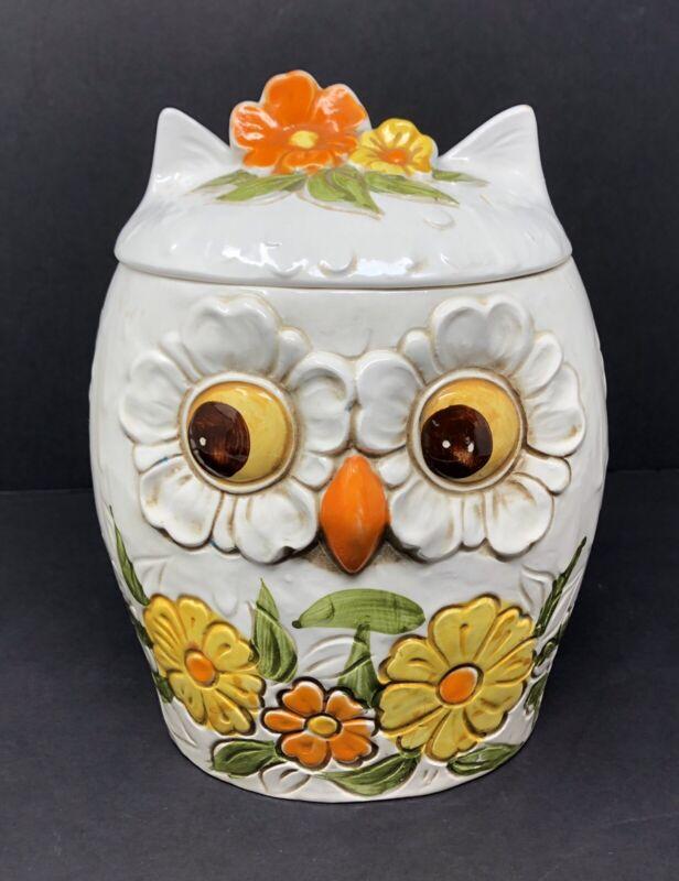Vintage Midcentury 60's 70's Ceramic OWL COOKIE JAR Yellow Orange Flower Eyes