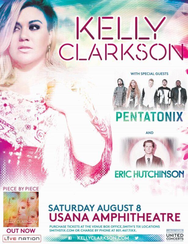 KELLY CLARKSON/PENATONIX/ERIC HUTCHINSON 2015 SALT LAKE CITY CONCERT TOUR POSTER