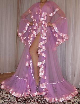 Vtg Nylon Chiffon Satin Full Sweep Lingerie Slip Negligee Robe Nightgown XL-3X