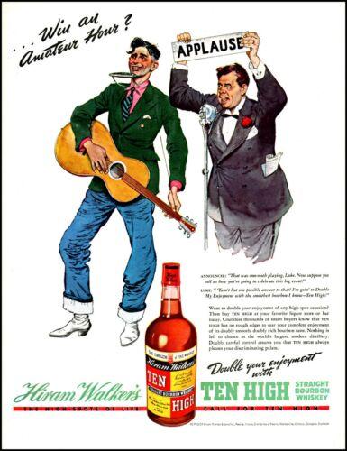 1938 Amateur Hour guitar announcer Ten High Bourbon vintage art print ad adl88