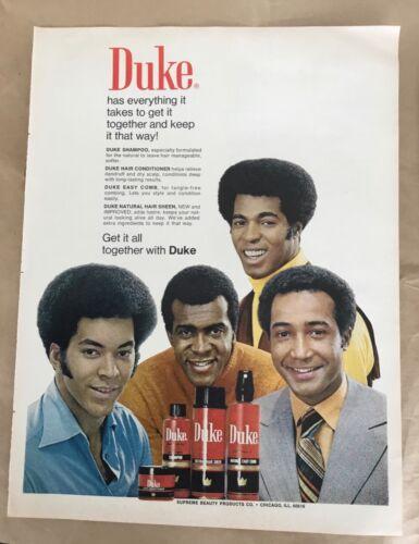 Duke hair care ad 1974 orig vintage print 1970s retro photo art fashion men