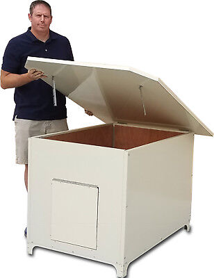 (  XXL INSULATED DOG HOUSE Powdercoated steel exterior wood Interior Ultimate Den)