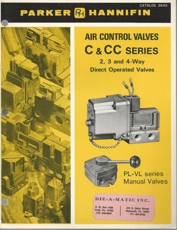 Air Control Valves 1974 Catalog Pneumatic Division Parker Hannifin Otsego MI