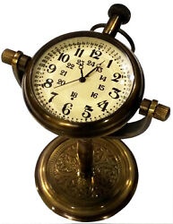 NAUTICAL MARITINE ANTIQUE TABLE/DESK CLOCK WITH BRASS WATCH DECOR