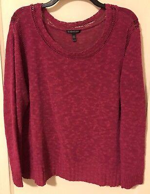 Eileen Fisher hot pink linen blend sweater Size XL crochet trim CAREER loose