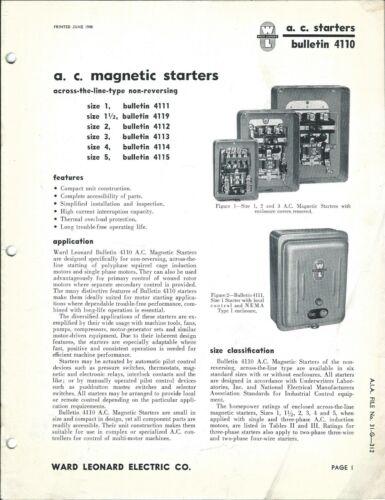 MRO Brochure - Ward Leonard Electric - AC Magnetic Motor Starters 1948 (MR259)