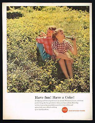1950's BIG Original VINTAGE Coca-Cola Children Girl & Boy Photo Print AD