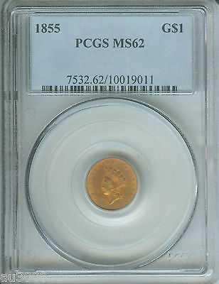 1855 TYPE 2 $1 GOLD DOLLAR PCGS MS62 G$1 COIN MS-62 !!!