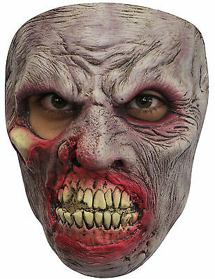 Scary Zombie Face Mask Mens Deluxe Latex Fancy Dress Halloween Horror Masque NEW