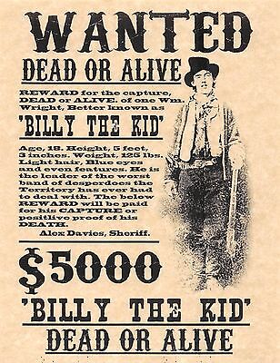 Billy The Kid Dead Or Alive Wanted Poster   Flyer Poster Prop Replica