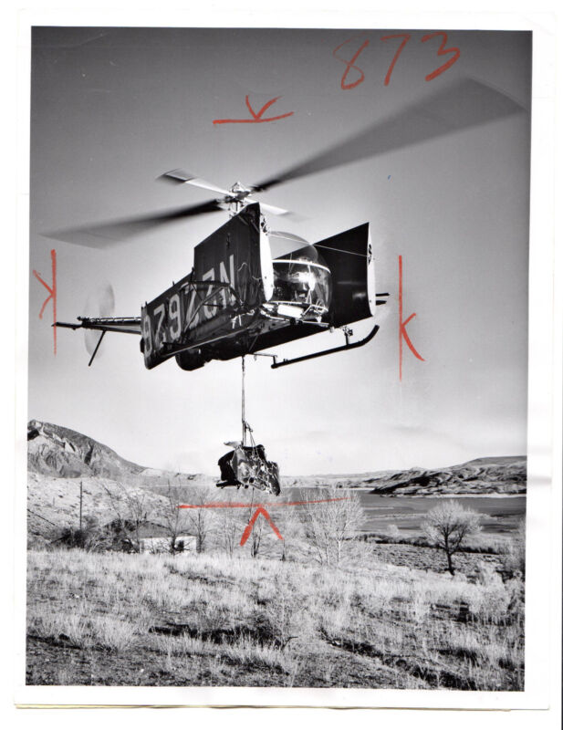 1961 Vintage Press Photo Hiller 12E Helicopter wrekage Trout Creek Basin,Wyoming